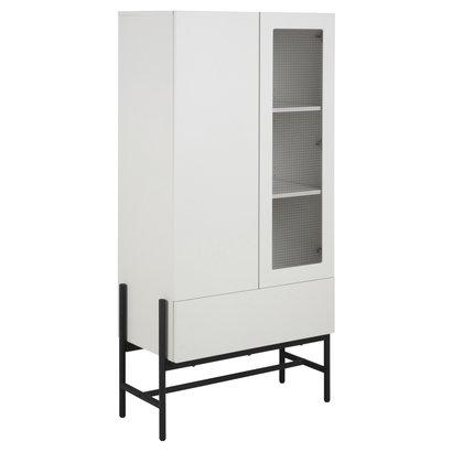 Noma vitrinekast 1 deur, 1 glazen deur, 1 lade wit, zwart.