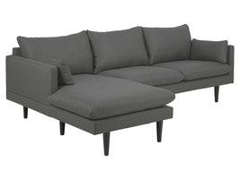 Sulli bank met chaiselongue linkerkant donkergrijs, zwart.
