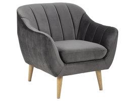 Dorte fauteuil donkergrijs, rubberhout.