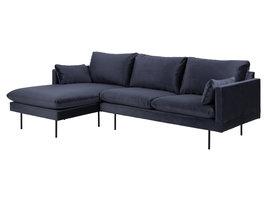 Sulli bank met chaiselongue linkerkant donkerblauw, zwart.