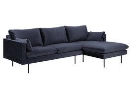 Sulli bank met chaiselongue rechterkant donkerblauw, zwart.