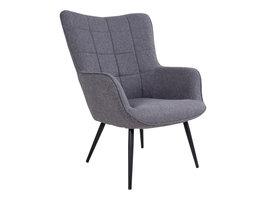Dumak fauteuil grijs, zwarte poten.