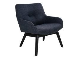 Lone fauteuil donkergrijs, zwarte poten.