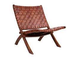 Monk fauteuil bruin leder.