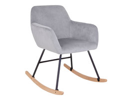 Yma schommelstoel met armleuningen in grijs velours.