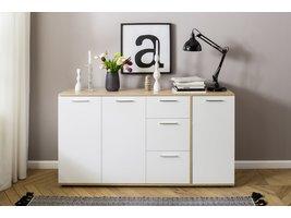 Usus dressoir met 3 deuren en 3 lades, wit en eiken decor.