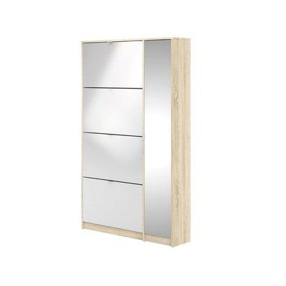 Shane schoenenkast 4 klapdeuren 2R, 1 spiegeldeur eikenstructuur decor, wit hoogglans.
