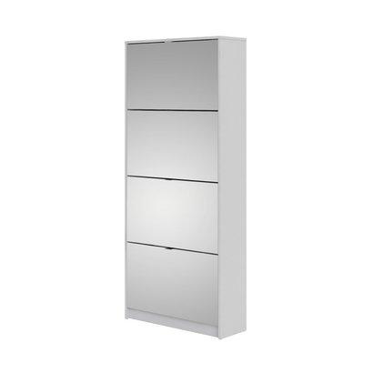Shane schoenenkast 4 klapdeuren met spiegel 2R wit.