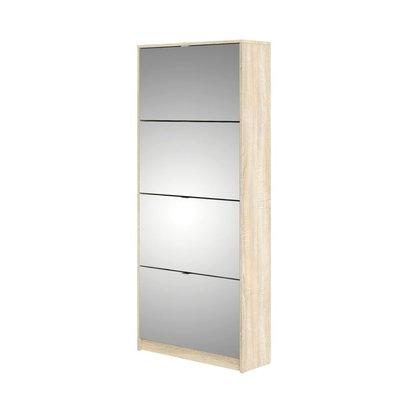 Shane schoenenkast 4 klapdeuren met spiegel 2R eikenstructuur decor.