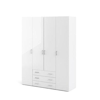Spell kledingkast 4 deuren, 3 lades wit, wit hoogglans.