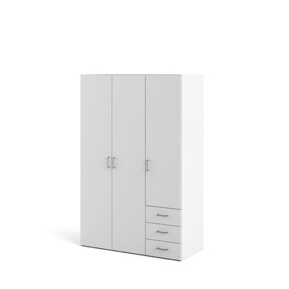 Spell kledingkast 3 deuren, 3 lades wit.