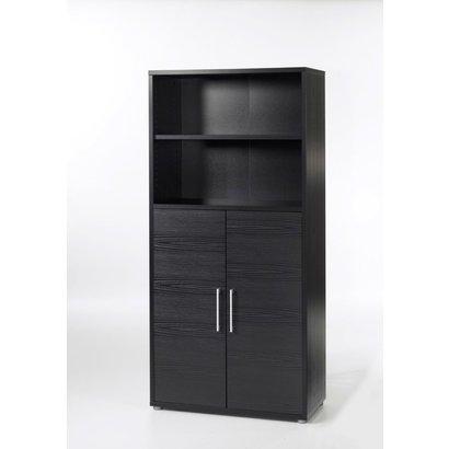 Prisme kantoorbenodigdheden 1 plank, 2 deuren zwart essendecor.