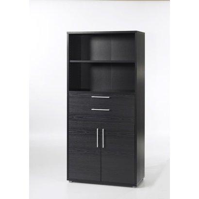 Prisme kantoorbenodigdheden 1 plank, 2 lades, 2 deuren zwart essendecor.