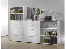 Prisme kantoorbenodigdheden 3 planken, 8 lades wit.