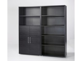 Prisme kantoorbenodigdheden 2 deuren, 5 planken zwart essendecor.