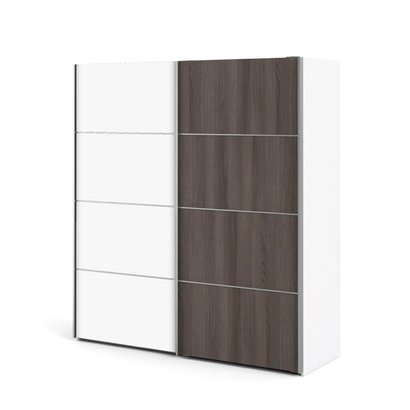 Veto kledingkast A 2 deurs H201 cm x B182 cm wit, antraciet eikendecor.