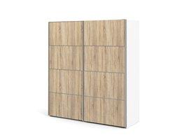 Veto kledingkast B 2 deurs H201 cm x B182 cm wit, eikenstructuur decor.