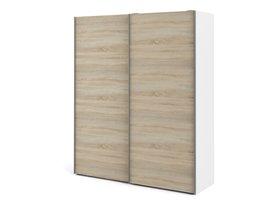 Veto kledingkast A 2 deurs H220 cm x B182 cm wit, eikenstructuur decor.