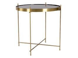 Veo salontafel, hoektafel 48x48 cm messing look staal, glas.