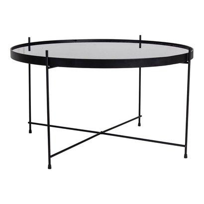 Veo salontafel 70x40 cm zwart staal, glas.