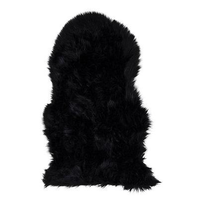 Laila lamsvel imitatie 50x85 cm, zwart.