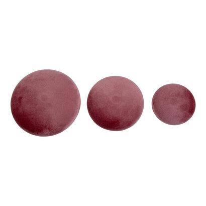 Gia haken set 3 stuks rosa velours, messing look.