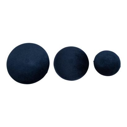 Gia haken set 3 stuks blauw velours, messing look.