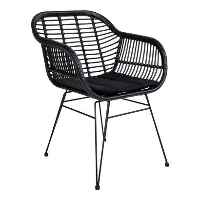 Trish fauteuil met kussen, rotan zwart .
