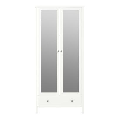 Trone kledingkast 2 spiegeldeuren en 1 lade, wit gelakt.