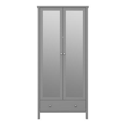 Trone kledingkast 2 spiegeldeuren en 1 lade, grijs gelakt.