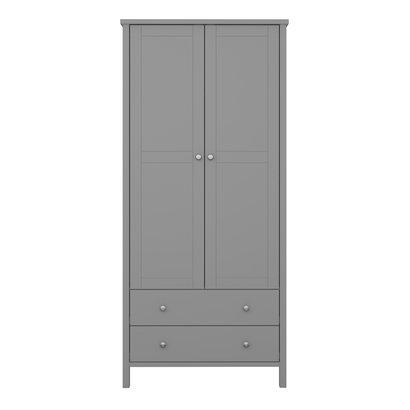 Trone kledingkast 2 deuren en 2 lades, grijs gelakt.