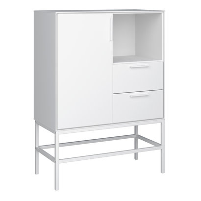 Cris dressoir 1 deur en 2 lades, wit gelakt, wit metalen frame.