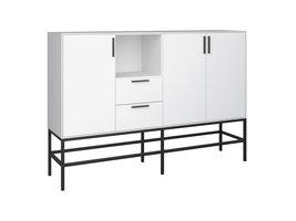 Cris dressoir 3 deuren en 2 lades, wit gelakt, zwart metalen frame.