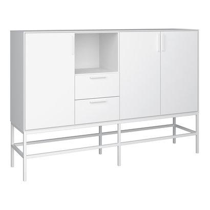 Cris dressoir 3 deuren en 2 lades, wit gelakt, wit metalen frame.