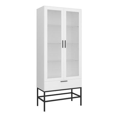 Cris vitrinekast 2 glazen deuren en 1 lade, wit gelakt, zwart metalen frame.