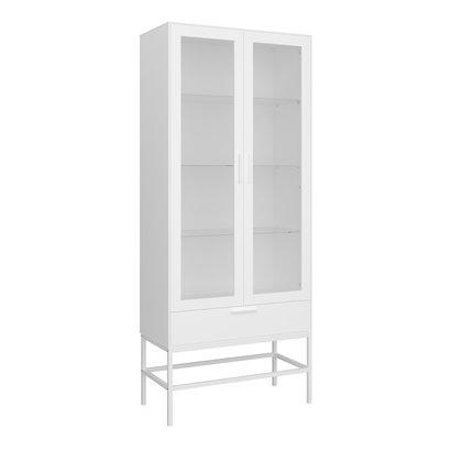 Cris vitrinekast 2 glazen deuren en 1 lade, wit gelakt, wit metalen frame.