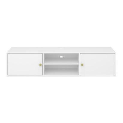 Ursky TV-meubel 2 deuren en plank in open ruimte, wit gelakt.