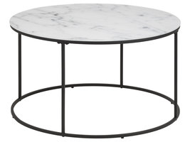 Bolt salontafel glas, wit marmer print, zwart frame.