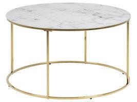 Bolt salontafel glas, wit marmer print, goudkleurig chromen frame.