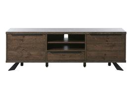 Arne TV-meubel 2 deuren, 2 planken en 1 lade, eiken fineer en lak.