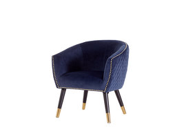 Niles fauteuil blauw velours.