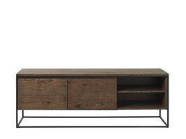 Rice TV-meubel 1 plank en 2 lades, eiken fineer.