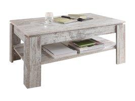 Aboma salontafel met 1 plank pijnboom decor wit.