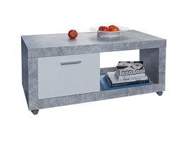 Bomara salontafel op wielen met 1 klep beton decor, wit.
