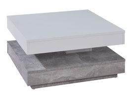 Erano salontafel draaibaar tafelblad en 1 plank beton decor, wit.