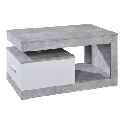 Hidalgo salontafel met 1 lade en 1 plank beton decor, wit.