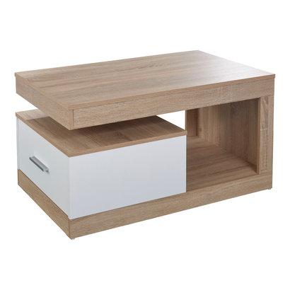 Hidalgo salontafel met 1 lade en 1 plank eiken decor, wit.