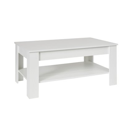 Kamaro salontafel met 1 plank pijnboom wit decor.