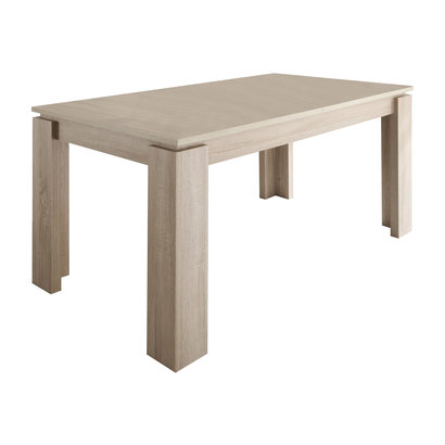Maso eetkamertafel 90x160/200 cm met uittrekbare plaat in de tafel licht eiken decor.