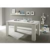 Maso eetkamertafel 90x160/200 cm met uittrekbare plaat in de tafel wit structuur.